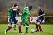 25 January 2015; Thierry Baba, Republic of Ireland, in action against Glenn Middleton, left, and Christian Antoniazzi, Scotland. U15 Soccer International, Republic of Ireland v Scotland, Pat Kennedy Park, Tanavalla, Listowel, Co. Kerry. Picture credit: Brendan Moran / SPORTSFILE