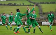25 January 2015; Glen McAuley, 2nd from left, Republic of Ireland, is congratulated by team-mates Sultan Owolabi, 18, and Alan McColgan, right, after scoring their side's only goal. U15 Soccer International, Republic of Ireland v Scotland, Tanavalla, Listowel, Co. Kerry. Picture credit: Brendan Moran / SPORTSFILE