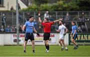 25 January 2015; Referee David Gough shows Dublin's Michael Darragh Macauley the red card in the closing minutes of normal time. Bord na Mona O'Byrne Cup Final, Kildare v Dublin, St Conleth's Park, Newbridge, Co. Kildare. Picture credit: Ray McManus / SPORTSFILE