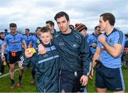 25 January 2015; Dublin supporter Adam O'Connor with Michael Darragh Mcauley after the game. Bord na Mona O'Byrne Cup Final, Kildare v Dublin, St Conleth's Park, Newbridge, Co. Kildare. Picture credit: Ray McManus / SPORTSFILE