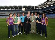 10 October 2007; John McGuinness, T.D., Minister for Trade and Commerce, centre, with from left. Brona Furlong, Wexford, Orla Brennan, IRFU, Stephen Cluxton, Dublin, Dan Connor, Drogheda United, Leo Cullen, IRFU, Enda McDonnell, Director of Standards with the NSAI, Brian Begley, Limerick Ash Dyer, FAI, and Mags D'Arcy, Wexford, at the launch of the Goalpost Safety Standards by NSAI & National Awareness Campaign by the FAI, IRFU, GAA and Cumann Camogie. Croke Park, Dublin. Picture credit: Matt Browne / SPORTSFILE