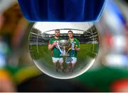 26 January 2015; In attendance at the launch of the 2015 Allianz Football Leagues in Croke Park are Seamus O'Shea, left, Mayo, and Paul Geaney, Kerry. The opening weekend of the Allianz Football League will see Kerry host Mayo in Fitzgerald Stadium, Killarney on Sunday. 2015 Allianz Football League Launch, Croke Park, Dublin. Picture credit: Brendan Moran / SPORTSFILE