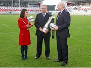 26 January 2015; Pictured in attendance at the Guinness PRO12 Final launch are, from left to right, Belfast Lord Mayor Cllr Nichola Mallon, David Jordan, Tournament Director, PRO12 Rugby, and Shane Logan, CEO of Ulster Rugby. Kingspan Stadium, Ravenhill Park, Belfast, Co. Antrim. Picture credit: John Dickson / SPORTSFILE