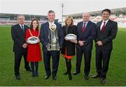 26 January 2015; Pictured in attendance at the Guinness PRO12 Final launch are, from left to right, David Jordan, Tournament Director, PRO12 Rugby, Belfast Lord Mayor Cllr Nichola Mallon, John Feehan, CEO of PRO12 Rugby, Anne McMullan, Director Of Marketing of Visit Belfast, Shane Logan, CEO of Ulster Rugby, and Jorge Lopes, Country Director (NI) from Guinness. Kingspan Stadium, Ravenhill Park, Belfast, Co. Antrim. Picture credit: John Dickson / SPORTSFILE