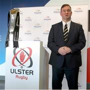 26 January 2015; Speaking at the Guinness PRO12 Final launch is CEO Of Pro12 Rugby John Feehan. Kingspan Stadium, Ravenhill Park, Belfast, Co. Antrim. Picture credit: John Dickson / SPORTSFILE