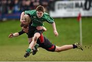 26 January 2015; Aaron Byrne, Scoil Chonglais Baltinglass, is tackled by Ian Sheridan, Wesley College. Bank of Ireland Leinster Schools Fr. Godfrey Cup Semi-Final, Wesley College v Scoil Chonglais Baltinglass. Coolmine RFC, Dublin. Picture credit: Pat Murphy / SPORTSFILE