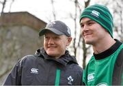 27 January 2015; Ireland head coach Joe Schmidt and Jonathan Sexton before the start of squad training. Ireland Rugby Squad Training, Carton House, Maynooth, Co. Kildare. Picture credit: David Maher / SPORTSFILE