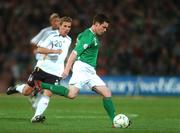 13 October 2007; Steve Finnan, Republic of Ireland, in action against Lukas Podolski, Germany. 2008 European Championship Qualifier, Republic of Ireland v Germany, Croke Park, Dublin. Picture credit; Brian Lawless / SPORTSFILE