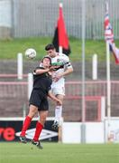 20 October 2007; Paul Leeman, Glentoran, in action against Marty Hunter, Larne. Carnegie Premier League, Glentoran v Larne, The Oval, Belfast, Co. Antrim. Picture credit; Mark Pearce / SPORTSFILE