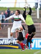 20 October 2007; Chris Morgan, Glentoran, in action against Larne keeper Chris Keenan. Carnegie Premier League, Glentoran v Larne, The Oval, Belfast, Co. Antrim. Picture credit; Mark Pearce / SPORTSFILE
