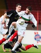 20 October 2007; Gary Hamilton, Glentoran, in action against Anto Lagan, Larne. Carnegie Premier League, Glentoran v Larne, The Oval, Belfast, Co. Antrim. Picture credit; Mark Pearce / SPORTSFILE