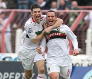 20 October 2007; Glentoran goal scorer Rory Hamill, right, celebrates with team-mate Paul Leeman. Carnegie Premier League, Glentoran v Larne, The Oval, Belfast, Co. Antrim. Picture credit; Mark Pearce / SPORTSFILE