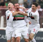 20 October 2007; Glentoran goal scorer Rory Hamill, centre, celebrates with team-mates Paul Leeman and Tim McCann. Carnegie Premier League, Glentoran v Larne, The Oval, Belfast, Co. Antrim. Picture credit; Mark Pearce / SPORTSFILE