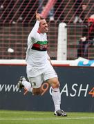 20 October 2007; Glentoran's Rory Hamill celebrates after scoring a goal. Carnegie Premier League, Glentoran v Larne, The Oval, Belfast, Co. Antrim. Picture credit; Mark Pearce / SPORTSFILE