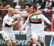 20 October 2007; Glentoran's Rory Hamill, 8, celebrate after scoring a goal with team-mates Paul Leeman and Tim McCann. Carnegie Premier League, Glentoran v Larne, The Oval, Belfast, Co. Antrim. Picture credit; Mark Pearce / SPORTSFILE