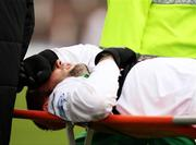20 October 2007; Glentoran's Gary Hamilton is stretchered off the field by medical personnel. Carnegie Premier League, Glentoran v Larne, The Oval, Belfast, Co. Antrim. Picture credit; Mark Pearce / SPORTSFILE