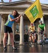 27 January 2015; Model Rozanna Purcell with former Rás winner David McCann, left, and Damien Shaw at the launch of the 2015 An Post Rás which will begin on Sunday May 17th, in Dunboyne, Co. Meath and finish on Sunday May 24th, in Skerries, Co. Dublin. GPO, O'Connell Street, Dublin. Picture credit: Pat Murphy / SPORTSFILE