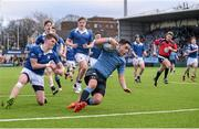 27 January 2015; Gavin Barrett, St Michael's College, goes over for a try. Bank of Ireland Leinster Schools Senior Cup, 1st Round, St Michael's College v St Mary's College, Donnybrook Stadium, Donnybrook, Dublin. Picture credit: Pat Murphy / SPORTSFILE