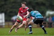 27 January 2015; Jamie McAlease, Glenstal Abbey, is tackled by David Garry, Castletroy College. SEAT Munster Schools Senior Cup, Round 1, Castletroy College v Glenstal Abbey. Rosbrien, Limerick. Picture credit: Diarmuid Greene / SPORTSFILE