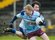 28 January 2015; Niall Darby, GMIT, in action against Enda Flanagan, DIT. Independent.ie Sigerson Cup, Round 1, GMIT v DIT. Tuam Stadium, Tuam, Co. Galway. Picture credit: David Maher / SPORTSFILE
