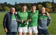 21 October 2017; Shane Bennett, left, Patrick Curran of Ireland with kitmen Tommy Byrne, left, and Roger Casey and the cup after the U21 Shinty International match between Ireland and Scotland at Bught Park in Inverness, Scotland. Photo by Piaras Ó Mídheach/Sportsfile