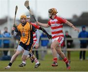 29 January 2015; Donal Breathnach, DCU, in action against Cian Buckley, right, and Tomas Lawerence, Cork IT. Independent.ie Fitzgibbon Cup, Group A, Round 1, DCU v Cork IT. Dublin City University, Dublin. Picture credit: Piaras Ó Mídheach / SPORTSFILE