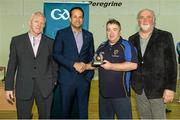 31 January 2015: David Fitzgerald, Munster, receives his Coach of the Year award from Paul Harte, left, Chairman of St. Peregrines GAA Club; Leo Varadkar, TD, Minister for Health; and Martin Donnelly, M. Donnelly. GAA Wheelchair Hurling Blitz/All-Star Awards, St. Peregrines GAA Club, Blakestown Road, Dublin.  Picture credit: Barry Cregg / SPORTSFILE
