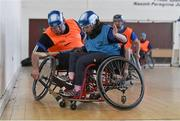 31 January 2015: Ellie Sheehy, Limerick, in action against Stephen Casey, Limerick. M. Donnelly GAA Wheelchair Hurling Blitz/All-Star Awards, St. Peregrines GAA Club, Blakestown Road, Dublin.  Picture credit: Barry Cregg / SPORTSFILE