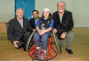 31 January 2015: Ellie Sheehy, Limerick, received the Camogie Player of the Year award from Paul Harte, left, Chairman of St. Peregrines GAA Club; Leo Varadkar, TD, Minister for Health; and Martin Donnelly, M. Donnelly. GAA Wheelchair Hurling Blitz/All-Star Awards, St. Peregrines GAA Club, Blakestown Road, Dublin.  Picture credit: Barry Cregg / SPORTSFILE