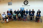 31 January 2015: Award winners and members of the wheelchair hurling committee with Leo Varadkar T.D. Minister for Health. M. Donnelly GAA Wheelchair Hurling Blitz/All-Star Awards, St. Peregrines GAA Club, Blakestown Road, Dublin.  Picture credit: Barry Cregg / SPORTSFILE