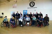 31 January 2015: Players and members of the wheelchair hurling committee with Leo Varadkar T.D. Minister for Health. M. Donnelly GAA Wheelchair Hurling Blitz/All-Star Awards, St. Peregrines GAA Club, Blakestown Road, Dublin.  Picture credit: Barry Cregg / SPORTSFILE