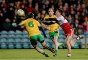 31 January 2015: Kevin Johnston, Derry, in action against Karl Lacey, Donegal. Allianz Football League Division 1, Round 1, Donegal v Derry. MacCumhail Park, Ballybofey, Co. Donegal Picture credit: Oliver McVeigh / SPORTSFILE