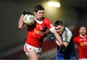 31 January 2015: Sean Cavanagh, Tyrone, in action against Dermot Malone, Monaghan. Allianz Football League Division 1, Round 1, Tyrone v Monaghan. Healy Park, Omagh, Co. Tyrone Picture credit: Paul Mohan / SPORTSFILE
