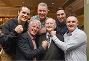 2 February 2015; Broadcaster and Journalist Jimmy 'The Memory Man' Magee with boxers who between them hold 40 national boxing titles, from left to right, Darren O'Neill, 5, Mick Dowling, 8, Jim O'Sullivan, 10, Kenny Egan, 10, and Billy Walsh, 7, who joined him to celebrate his 80th birthday at a party in the Goat Bar & Restaurant, Goatstown, Dublin. Picture credit: Ray McManus / SPORTSFILE