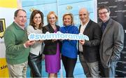 "3 February 2015; Swim Ireland announced details of ""Swim for a Mile 2015"" at The Pavillion at Trinity College Dublin earlier this morning. In attendance at the launch are, from left to right, Sam McGuinness, Simon Community, Erica Roseingrave, Public Affairs and Communications Manager, Coca-Cola, Sarah Keane, CEO, Swim Ireland, Dominique McMullan, Conor Pope and Killian Byrne. Trinity College, Dublin. Picture credit: Ramsey Cardy / SPORTSFILE"