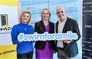 "3 February 2015; Swim Ireland announced details of ""Swim for a Mile 2015"" at The Pavillion at Trinity College Dublin earlier this morning. In attendance at the launch are Sarah Keane, CEO, Swim Ireland, centre, and Dominique McMullan, and Conor Pope, The Irish Times. Trinity College, Dublin. Picture credit: Ramsey Cardy / SPORTSFILE"