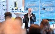 "3 February 2015; Swim Ireland announced details of ""Swim for a Mile 2015"" at The Pavillion at Trinity College Dublin earlier this morning. Speaking at the launch is Conor Pope. Trinity College, Dublin. Picture credit: Ramsey Cardy / SPORTSFILE"