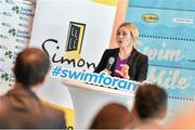 "3 February 2015; Swim Ireland announced details of ""Swim for a Mile 2015"" at The Pavillion at Trinity College Dublin earlier this morning. Speaking at the launch is Sarah Keane, CEO, Swim Ireland. Trinity College, Dublin. Picture credit: Ramsey Cardy / SPORTSFILE"