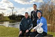 """4th February 2015: ESB, Official Energy Partner to the GAA, teamed up with Longford Slashers footballer Mark Smith, club treasurer Tom Mulligan, ESB Corporate Sustainability Coordinator Brian Gray and John Harrington, Director, FutureFit to reveal details of the ESB """"EnergyFit"""" programme in association with FutureFit. Longford Slashers GAA Club, one of the participants, is projected to save a total of €11,697 in Year 1 with continuing projected long-term savings which can be reinvested in the club's development. In attendance at the launch are Longford Slashers club treasurer Tom Mulligan, left, John Harrington, Director, FutureFit, and Longford Slashers footballer Mark Smith. ESB FutureFit Regional Launch, St.Judes GAA Club, Wellington Lane, Templeogue, Dublin. Picture credit: Barry Cregg / SPORTSFILE"""