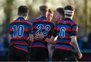 4 February 2015; Tom Harrington, St Munchin's College, is congratulated by team-mates, from left to right, Killian Markham, Adam Lyons, Mark Crowe and Jake Murphy after scoring his side's second try. SEAT Munster Schools Junior Cup, Round 1, St Munchin's College v Ardscoil Rís. St Mary's RFC, Limerick. Picture credit: Diarmuid Greene / SPORTSFILE