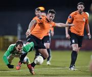 6 February 2015; Thomas Mulroney, Athlone Town, in action against Sean O'Connor, Shamrock Rovers. Pre-Season Friendly, Shamrock Rovers v Athlone Town, Tallaght Stadium, Tallaght, Co. Dublin. Picture credit: David Maher / SPORTSFILE