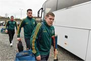 7 February 2015; Gort players, from right, Kaelen Higgins, Keith Killilea and Packie Lally, arrive before the game. AIB GAA Hurling All-Ireland Senior Club Championship, Semi-Final, Gort v Ballyhale Shamrocks, O'Connor Park, Tullamore, Co. Offaly. Picture credit: Diarmuid Greene / SPORTSFILE