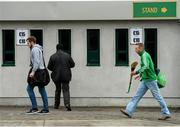 7 February 2015; Ballyhale Shamrock's James 'Cha' Fitzpatrick, right, makes his way to O'Connor Park ahead of the game. AIB GAA Hurling All-Ireland Senior Club Championship, Semi-Final, Gort v Ballyhale Shamrocks. O'Connor Park, Tullamore, Co Offaly. Picture credit: Piaras Ó Mídheach / SPORTSFILE