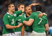 7 February 2015; Tommy O'Donnell, right, is congratulated by his Ireland team-mates, from left, Conor Murray, Tommy Bowe and Simon Zebo after scoring his side's second try. RBS Six Nations Rugby Championship, Italy v Ireland. Stadio Olimpico, Rome, Italy. Picture credit: Stephen McCarthy / SPORTSFILE