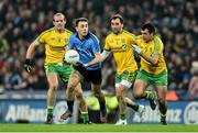 7 February 2015; Cormac Costello, Dublin, in action against Neil Gallagher, left, Karl Lacey, centre, and Frank McGlynn, Donegal. Allianz Football League, Division 1, Round 2, Dublin v Donegal. Croke Park, Dublin. Picture credit: Ramsey Cardy / SPORTSFILE