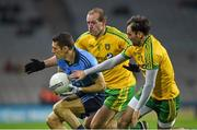 7 February 2015; Darren Daly, Dublin, in action against Neil Gallagher and Karl Lacey, Donegal. Allianz Football League, Division 1, Round 2, Dublin v Donegal. Croke Park, Dublin. Picture credit: Ray McManus / SPORTSFILE