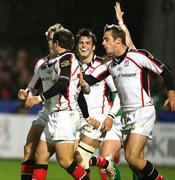 9 November 2007; Ulster's Paddy Wallace celebrates his second try with team-mates Andrew Trimble, far left, Rob Dewey, centre, and Tommy Bowe, right. Heineken Cup, Pool 2, Round 1, Ulster v Gloucester Rugby, Ravenhill, Belfast, Co. Antrim. Picture credit; Oliver McVeigh / SPORTSFILE