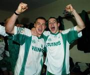 11 November 2007; Baltinglass' Ciaran Walshe, left, and John McGrath celebrate victory. Wicklow Senior Football Championship Final Replay, Baltinglass v Rathnew, County Park, Aughrim, Co. Wicklow. Picture credit; Matt Browne / SPORTSFILE *** Local Caption ***