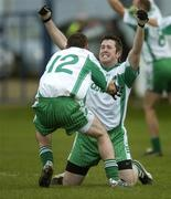 11 November 2007; Shane Wall and John McGrath,12, Baltinglass, celebrate at the final whistle. Wicklow Senior Football Championship Final Replay, Baltinglass v Rathnew, County Park, Aughrim, Co. Wicklow. Picture credit; Matt Browne / SPORTSFILE *** Local Caption ***