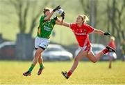 8 February 2015; Maria Quirke, Kerry, in action against Ciara O'Sullivan, Cork. TESCO HomeGrown Ladies National Football League, Division 1, Round 2, Cork v Kerry, Cloughduv, Cork. Picture credit: Paul Mohan / SPORTSFILE